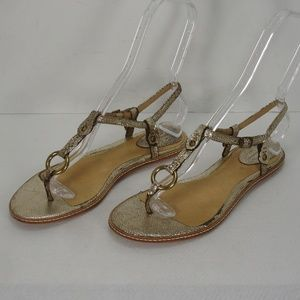 FRYE MARY HARNESS THONG SANDALS CRACKLED GOLD 8 M